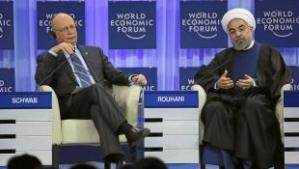 Klaus Schwab in gesprek met Hassan Rouhanie, president van Iran