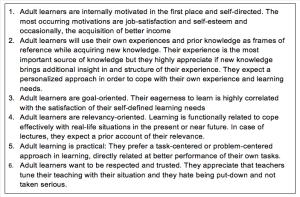 Zes principes van leren door volwassenen
