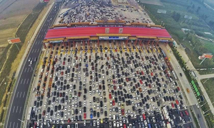 Traffic jam toll station Beijing