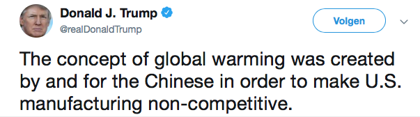 Tweet Trumo over klimaat