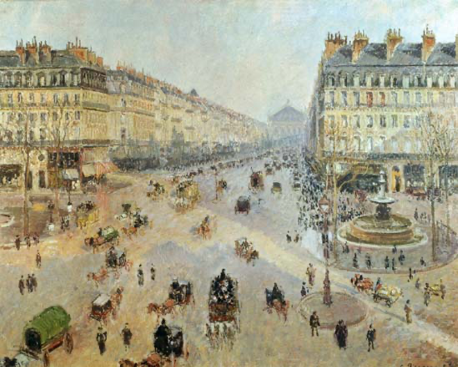 The Avenue de L'Opera, Paris - Camille Pissarro Als kunstdruk of ...