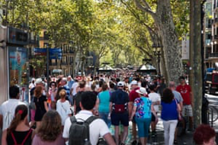 A packed La Ramblas in Barcelona.